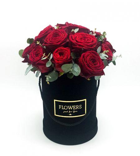 """Box kwiatowy """"Róża z eukaliptusem"""""""
