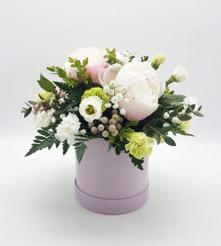 """Box kwiatowy """"Piwonia w różu midi"""""""