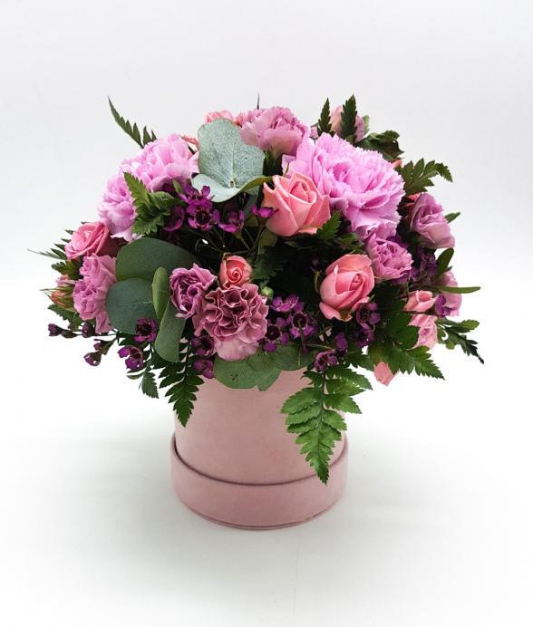 """Box kwiatowy """"Różany zamsz"""""""