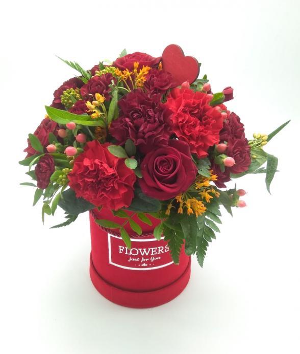 """Box kwiatowy """"Czerwone uczucie mini"""""""