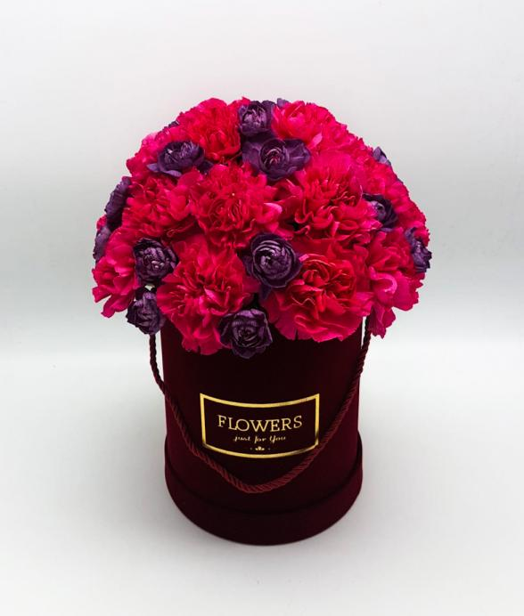"""Box kwiatowy """"Bordowy maxi"""""""