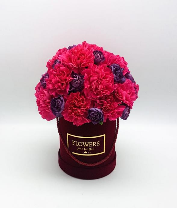 """Box kwiatowy """"Bordowy midi"""""""