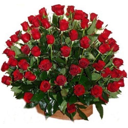 Kosz z 40 czerwonych róż