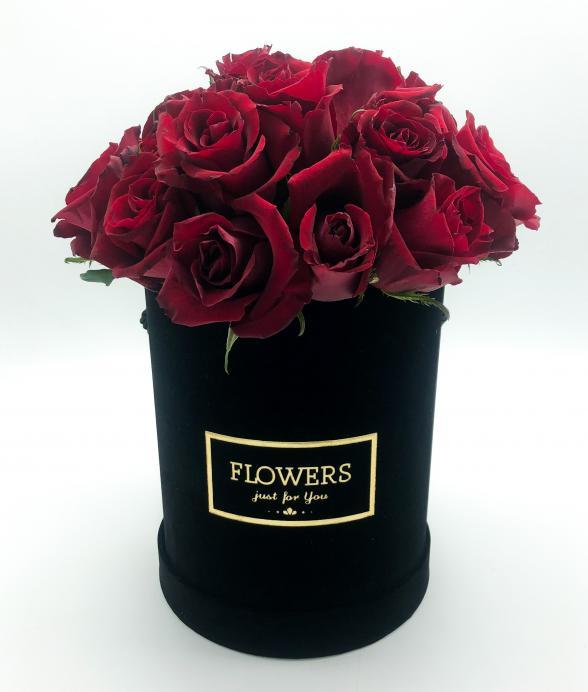 """Czerwone róże w czarnym pudełku """"XL"""""""
