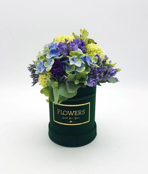 """Box kwiatowy """"Butelkowa zieleń mini"""""""