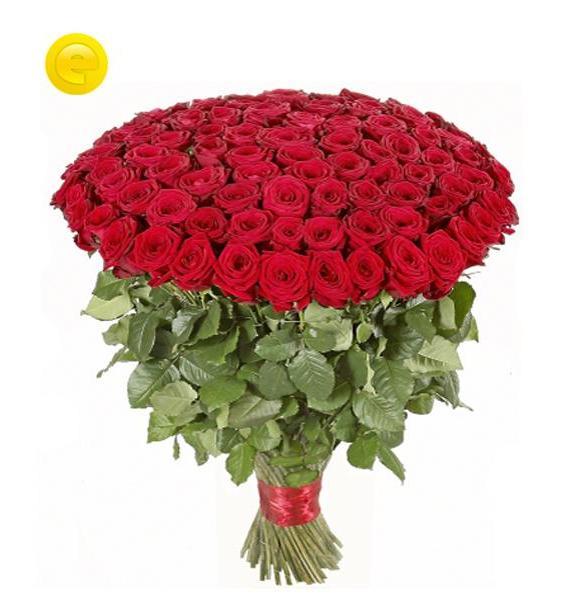 Bukiet 100 długich róż w bukiecie