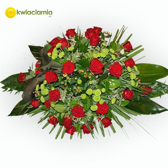 Wieniec pogrzebowy z czerwoną różą