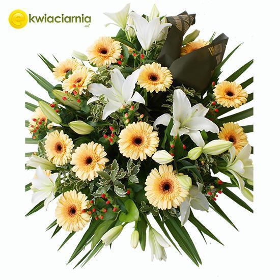 Wiązanka pogrzebowa z biała lilią