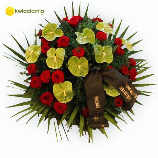 Wieniec pogrzebowy z róż i anturium